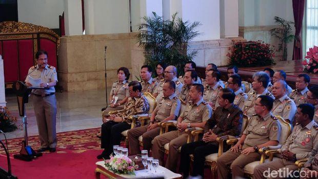 Menteri ATR/BPN Sofyan Djalil saat menyampaikan laporan
