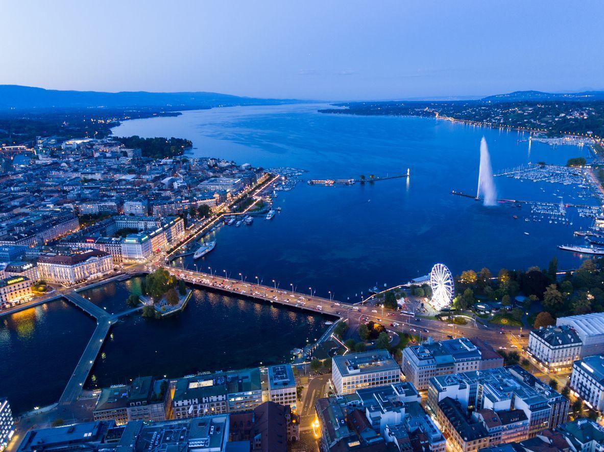 Geneva cityscape of sunset in summer, Switzerland