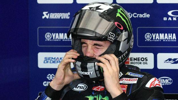 Maverick Vinales juga mengenakan helm baru di tes pramusim MotoGP 2019.