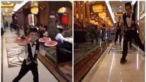 Gaya Akrobat Pelayan Restoran Ini Pakai Sepatu Roda Untuk Antarkan Makanan