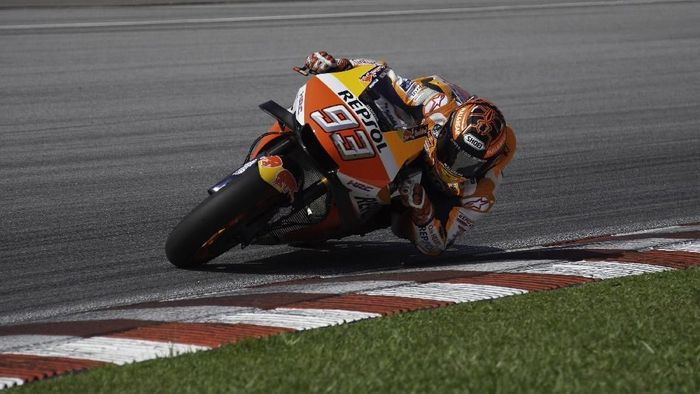 Marc Marquez tak mau ngoyo di tes pramusim MotoGP di Sepang. Foto: Mirco Lazzari gp/Getty Images