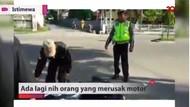 Lagi Nih! Pria Banting Motor karena Kesal Ditilang