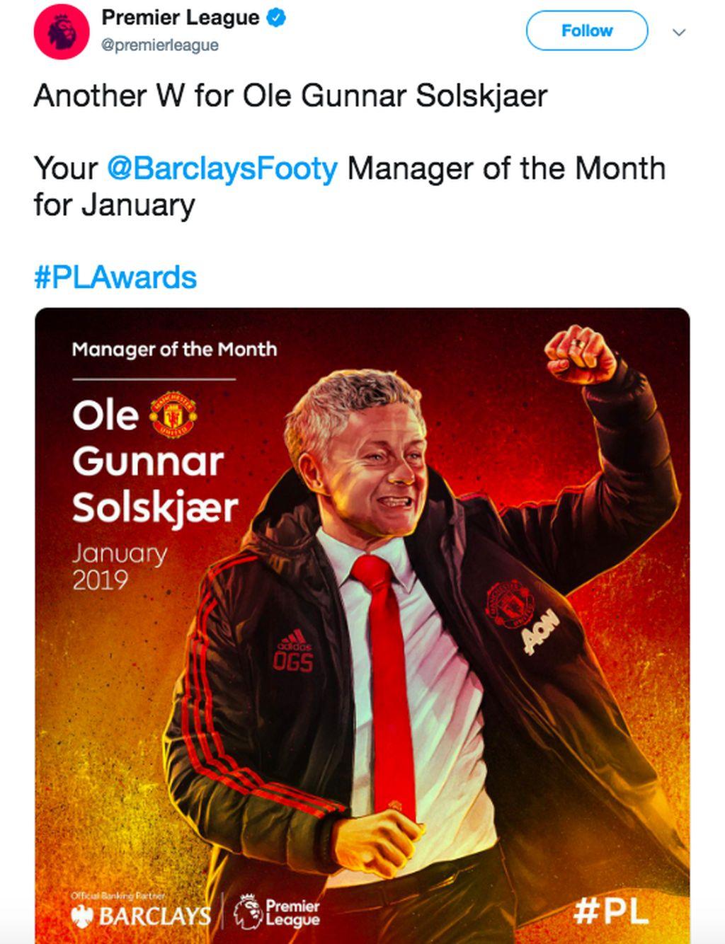 Media dan netizen banyak mengutarakan selamat pada Solskjaer usai dinobatkan sebagai Manager of the Month untuk bulan Januari berkat performa ciamik Manchester United. Foto: istimewa
