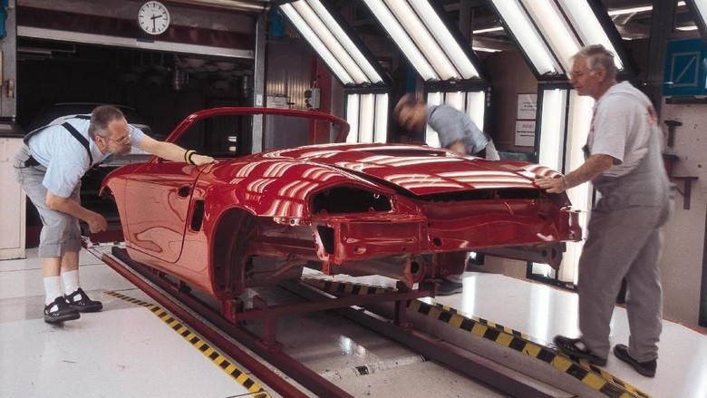 STUTTGART, GERMANY:  (FILEPHOTO)  Workers check the paint on Porsche cars at the companys main manufacturing plant in Stuttgart, Germany, in this undated file photo. Porsche announced a 71 percent rise in net profit October 11, 2002, thanks to increased demand for its higher end models with higher profit margins.  (Photo by Porsche AG/Getty Images)