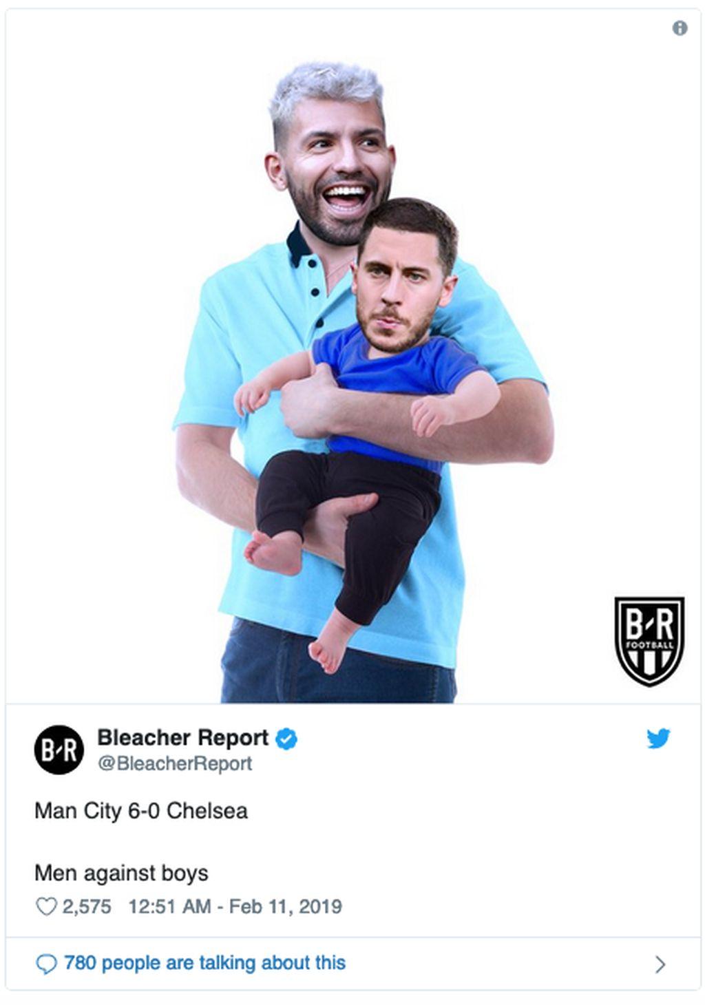 Masih terlalu dini buat Eden Hazarduntuk menyaingi Sergio Aguero, yang bersinar dalam kemenangan City atas Chelsea. (Foto: Internet/Twitter)