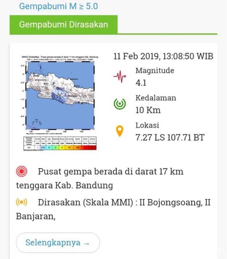 Gempa 4,1 SR Guncang Kabupaten Bandung, Getaran hingga Garut