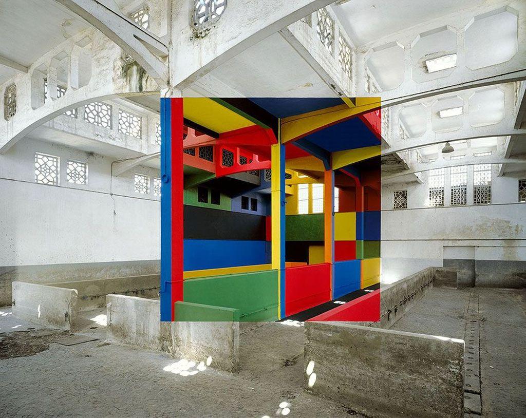 Adalah Georges Rousse, sosok di balik karya seni geometris ini. Foto: Georges Rousse