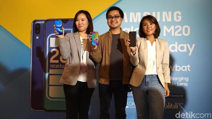 Samsung Galaxy M20 resmi hadir di Indonesia. (Foto: Muhamad Imron Rosyadi/detikINET)