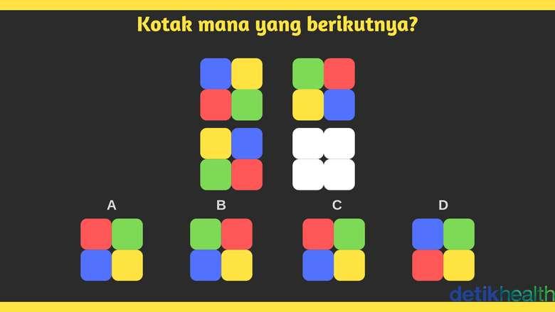 Perhatikan perubahan warna kotak yang paling atas. Kira-kira bagaimana nasib kotak yang bawahnya? (Foto: detikHealth)