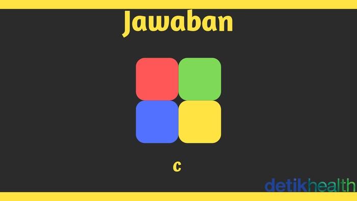 Karena warna kotak yang posisinya diagonal ditukar, maka jawabannya C. (Foto: detikHealth)