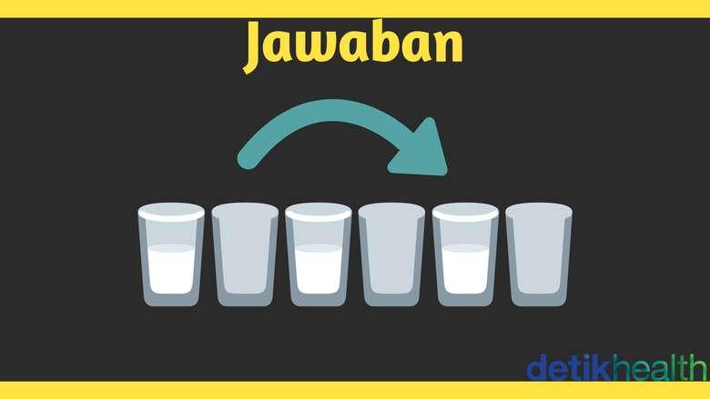 Tuangkan saja air gelas kedua dari sebelah kiri ke kelas kedua dari sebelah kanan. (Foto: detikHealth)