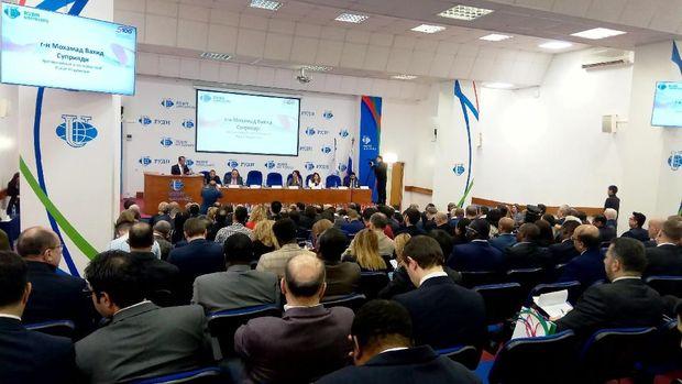 Dubes RI untuk Rusia merangkap Belarus M. Wahid Supriyadi menjadi salah satu presidium pada acara peringatan 59 tahun berdirinya RUDN University di Moskow (8/2/2019).