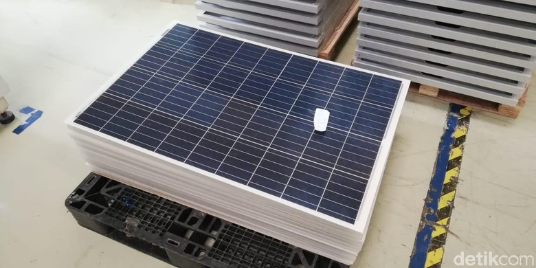 Solar Panel lampu Jalanan Foto: Rizki Pratama/detikOto