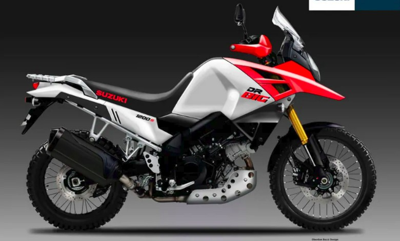 Perkiraan desain motor Suzuki bakal penantang Honda Africa Twin. Foto: Screenshot rendering car and bike
