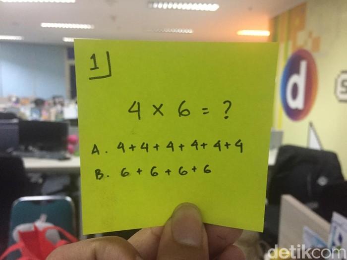 Pemanasan dulu yuk. Manakah jawaban yang benar? Simpan dulu jawabannya. (Foto: Widiya/detikHealth)
