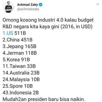 Fakta Anggaran Riset Indonesia yang Dikritik CEO Buka Lapak