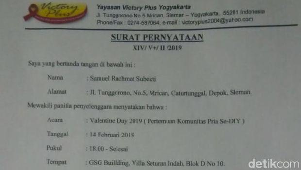 Surat pernyataan acara Valentine Komunitas Pria dibatalkan