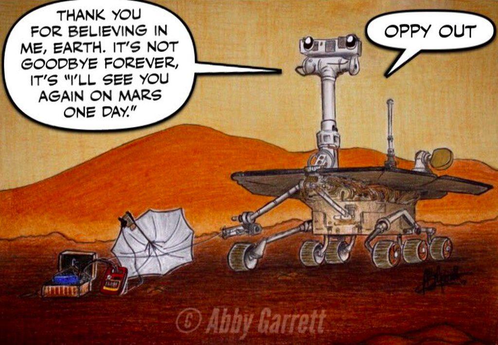 Ini bukan selama tinggal untuk selamanya. Sampai jumpa di Mars suatu hari nanti. Opppy out, tulis caption dalam kartun yang dipajang di Twitter ini. Berbagai lembaga memang ingin mewujudkan kolonisasi planet Mars. Foto: Twitter