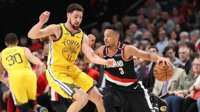 Golden State Warriors dikalahkan Portland Trail Blazers (Jaime Valdez-USA TODAY Sports)