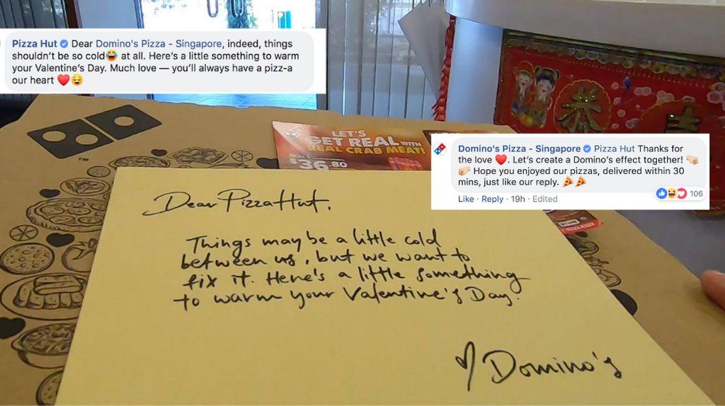 Rayakan Valentine, Dominos Kirim Pizza Cinta untuk Pizza Hut