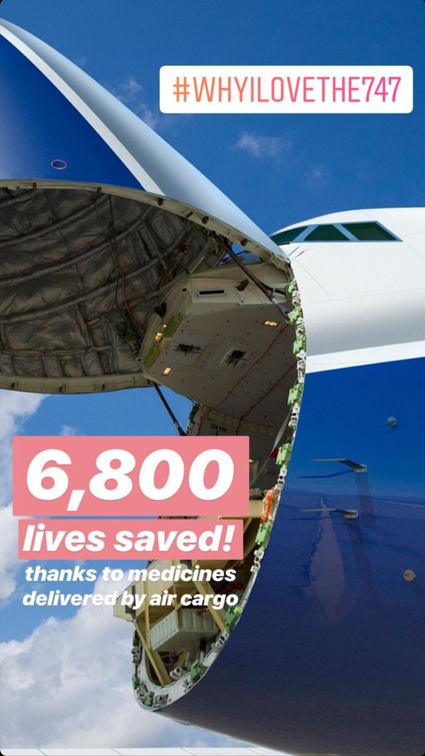 Tak berhenti di situ, insta stories Boeing. Dalam postingannya itu, Boeing juga mengungkap telah mengirimkan sejumlah obat yang mampu menyelamatkan 6.800 orang (Boeing)