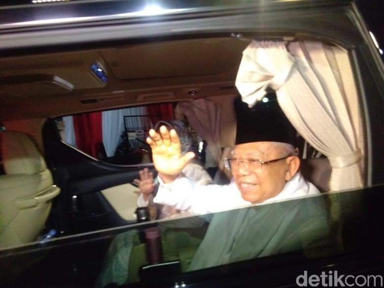Maruf Amin menuju lokasi debat capres. Foto: Lisye Sri Rahayu/detikcom