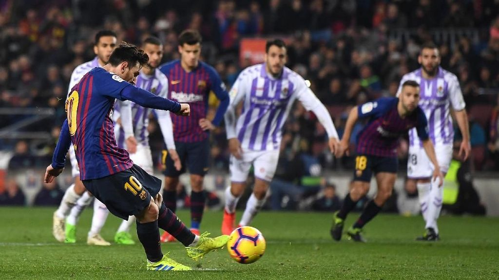 Hasil Liga Spanyol: Messi Dua Kali Penalti, Barcelona Atasi Valladolid