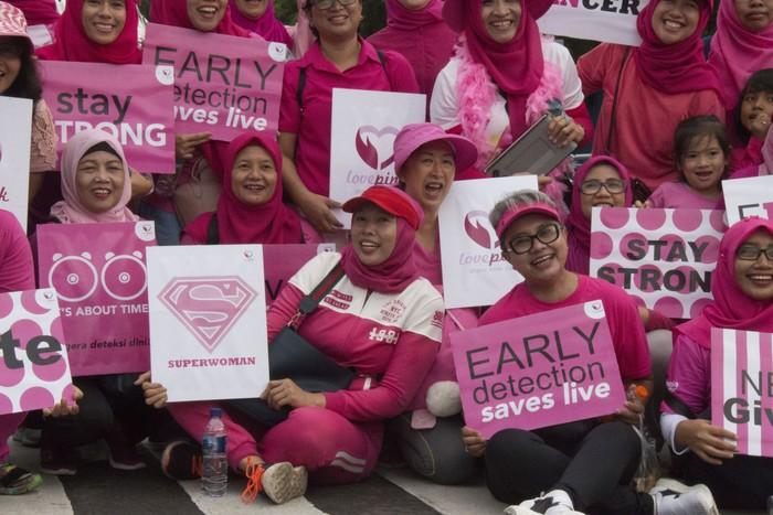 Pita berwarna pink merupakan simbol kanker payudara. Komunitas Love Pink juga menggunakan pita ini sebagai identitasnya. (Foto: Rosmha Widiyani/detikHealth)