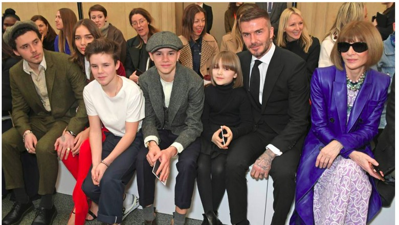 Dukungan Keluarga untuk Victoria Beckham di London Fashion Week/Foto: Istimewa