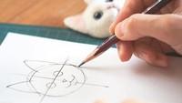 Seniman asal Jepang itu awalnya membuat sketsa dari wajah kucing yang akan dibuatnya.Dok. Instagram/wakuneco