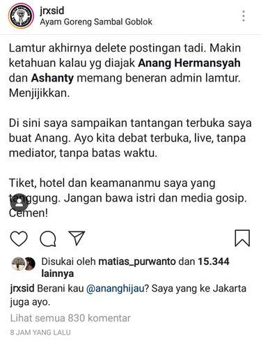 Dear Anang... Jerinx Tantang Kamu Lagi Nih untuk Bertemu Tanpa Istri dan Media
