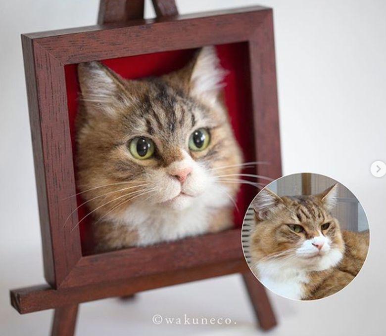 Ia bisa membuat pajangan berupa wajah kucing yang sangat mirip dengan aslinya.Dok. Instagram/wakuneco