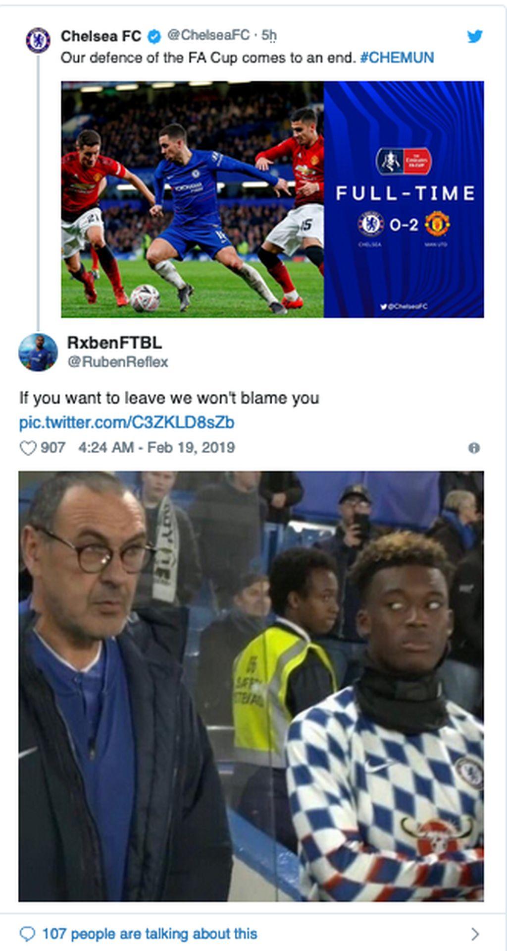 Chelsea kalah 0-2 dari MU dan tersingkir dari Piala FA. Sarri jadi sorotan utama. (Foto: Internet/Twitter)