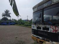 Bus PPD tua (putih) dan bus baru PPD untuk Transjakarta (biru).