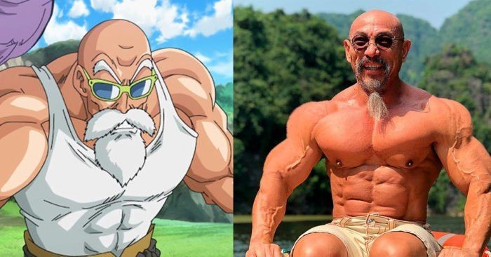 Penggemar Dragon Ball Z pasti tak asing dengan karakter Master Roshi yang melatih Goku. Di kehidupan nyata, ada sosok binaragawan kelahiran Vietnam, Nhon Ly yang disebut mirip Master Roshi. Foto: Instagram master_roshi_real_life