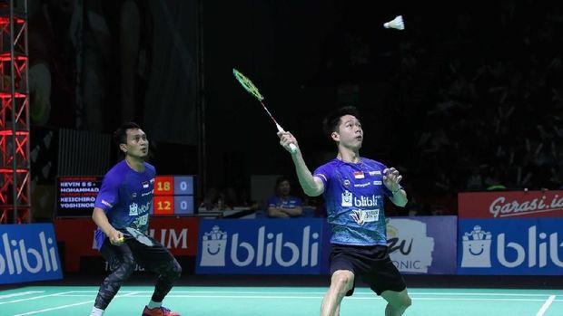 Marcus/Kevin lolos ke perempat final Singapura Terbuka 2019. (