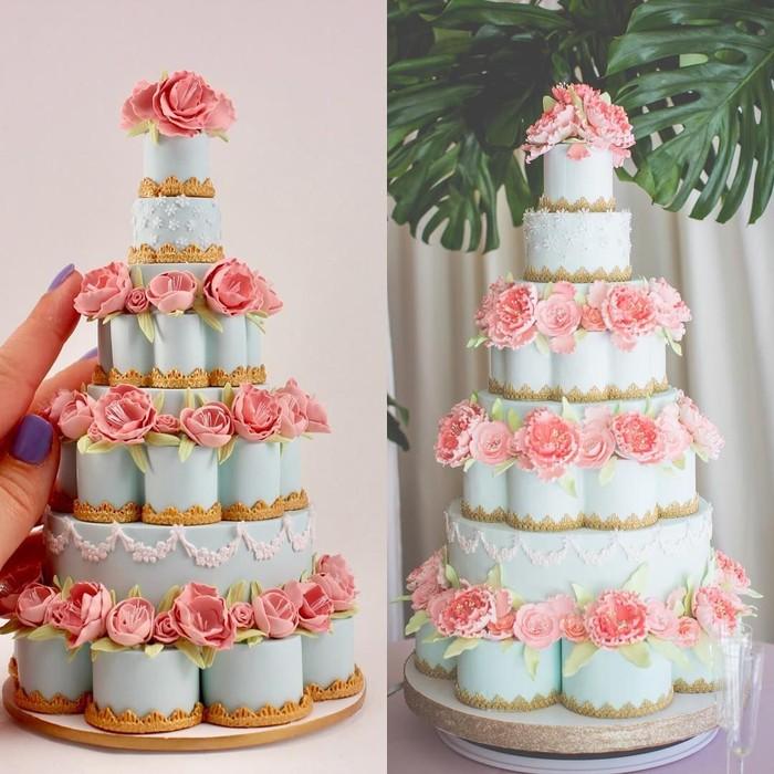 Grace membuat miniatur kue pengantin pesanan para pengantin. Kue-kue ini dibuat sama persis namun hadir dalam ukuran yang sangat mini. Foto: instagram @earthly.grace.treasures