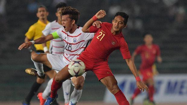 Timnas Indonesia U-22 saat mengalahkan Kamboja 2-0. (