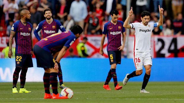 Barcelona sempat tertinggal dari Sevilla. (