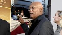 Samuel L Jackson mencoba memvideokan artis yang sedang berjalan di red carpet Oscar 2019 di California, Amerika Serikat pada Minggu (24/2).Kevork Djansezian/Getty Images