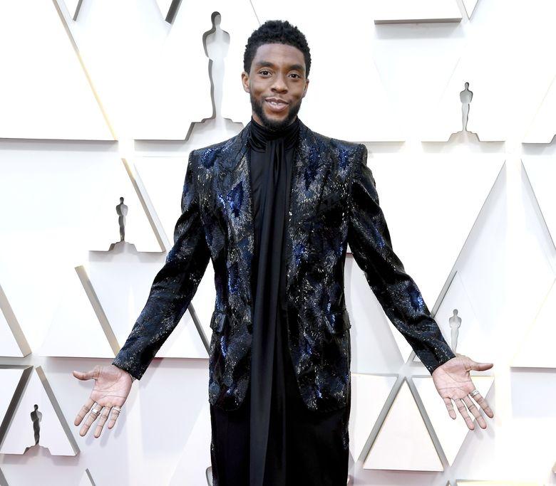 Chadwick Boseman atau pemeran Black Panther saat hadir di Oscar 2019 di California, Amerika Serikat pada Minggu (24/2).Frazer Harrison/Getty Images