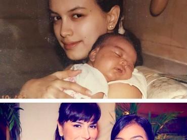 Sophia kembali menampilkan foto kolase bersama Eva saat kecil. Bedanya, kali ini foto tersebut dibuat saat Eva berulang tahun yang ke-24 pada 2016 lalu. Sedangkan di bagian atas, foto saat Eva baru lahir. (Foto: Instagram @sophia_latjuba88)