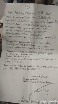 Surat Dhani untuk Menhan/