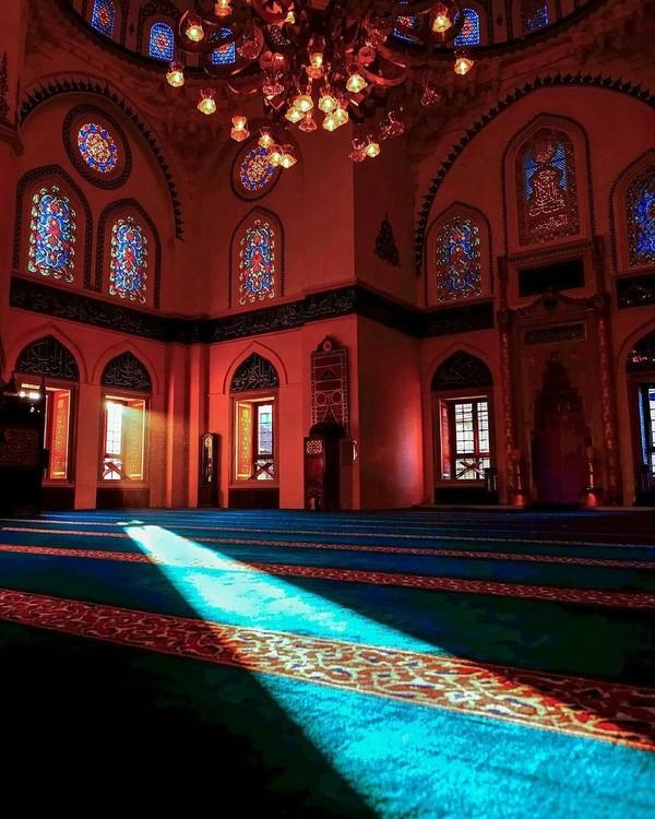 Matahari yang masuk dari jendela-jendela juga menambah keindahan dari masjid ini. Mimbar yang digunakan oleh imam untuk memberikan ceramah juga sangat menarik, seperti menara yang ada di dalam suatu bangunan. Aspek-aspek inilah yang membuat masjid ini terlihat luas dan terasa nyaman untuk beribadah. (Instagram/@tokyocamii)