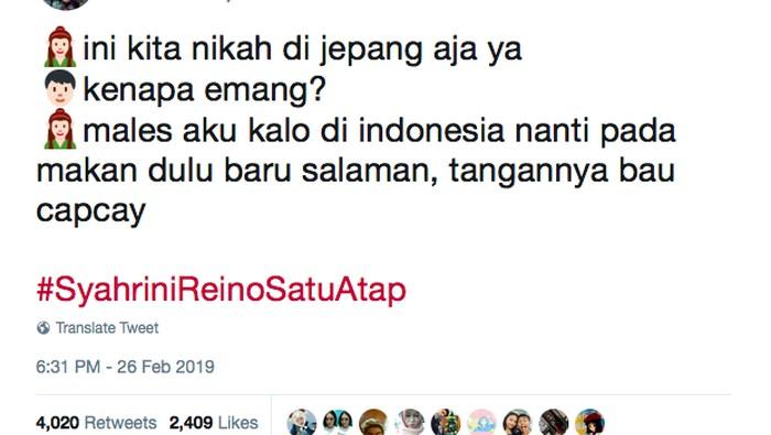 Mendapat lebih dari 2.000 likes, kebiasaan orang Indonesia saat kondangan ternyata makan dulu baru salaman! Foto: Twitter