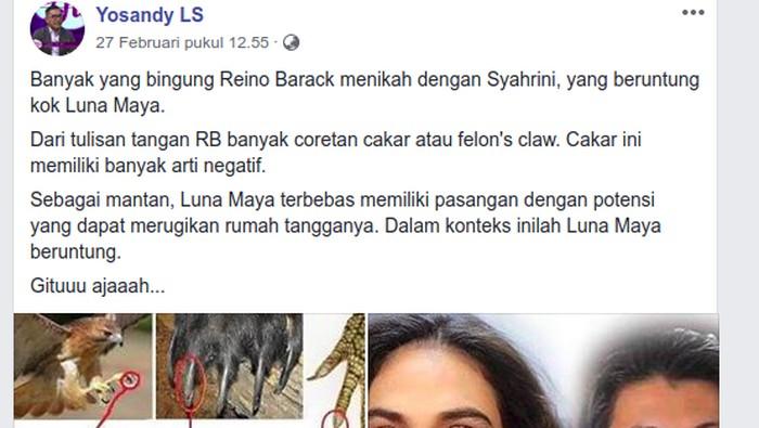 Unggahan seorang grafolog Yosandy LS mengenai tulisan tangan Reino Barack jadi viral.  Foto: Facebook/Yosandy LS