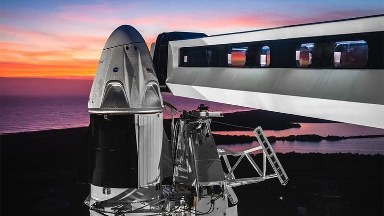 AS Luncurkan Roket Falcon 9 dan Kapsul Crew Dragon