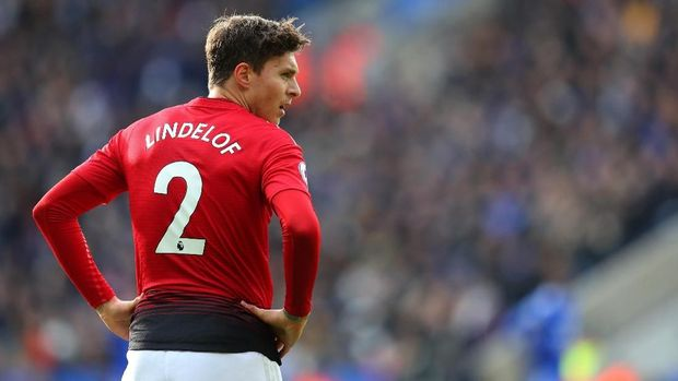 LEICESTER, ENGLAND - FEBRUARY 03: Victor Lindelof of Manchester United  during the Premier League match between Leicester City and Manchester United at The King Power Stadium on February 03, 2019 in Leicester, United Kingdom. (Photo by Catherine Ivill/Getty Images)
