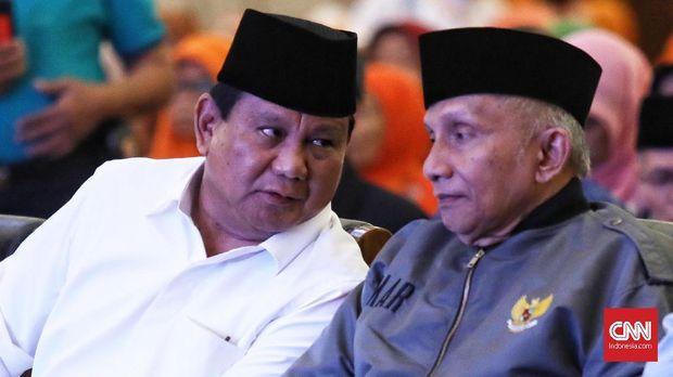 Capres Prabowo Subianto bersama politikus PAN Amien Rais.