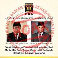 Poster hoax soal poligami yang menampilkan sosok pimpinan dan logo PKS